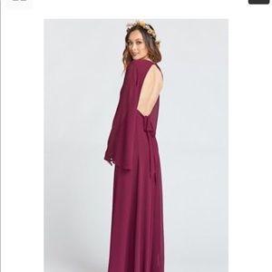 Show Me Your MuMu Dresses - VENUS LONG SLEEVE FLARE DRESS MERLOT CHIFFON